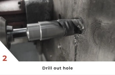 2. Drill out hole