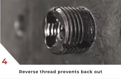 4. Reverse thread prevents back out