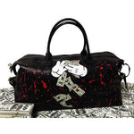 Hand painted duffel bag - money rules the world