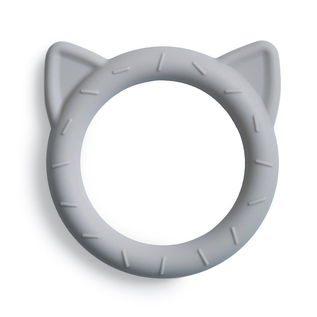 Mushie Teether Cat - Stone