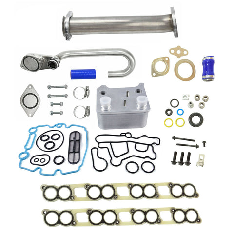 Ford 6.0 EGR Delete Kit Upgraded High Flow Oil Cooler Kit w/ Gaskets