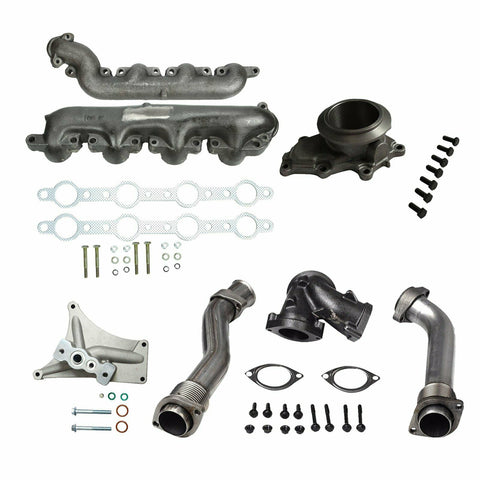For 99.5-03 Ford 7.3 Powerstroke Diesel Bellowed Up Pipes Turbo Pedestal&Housing
