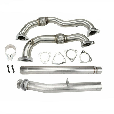 "For 08-10 Ford Powerstroke 6.4L CAT & DPF Delete Pipe 4"" and Heavy Duty Up Pipe No EGR"