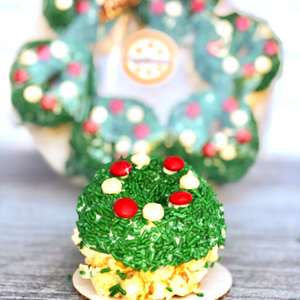 Christmas Wreath Mini Gourmet Popcorn Cakes