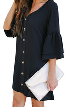 Load image into Gallery viewer, Black V Neck Shift Dress with Quarter-Bell Sleeves