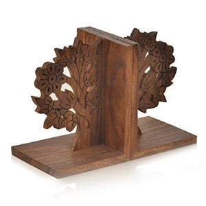 ExclusiveLane Wooden Hand Carved & Engraved Tree of Life Book End in Sheesham Wood paulabestdeals.myshopify.com