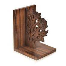Load image into Gallery viewer, ExclusiveLane Wooden Hand Carved & Engraved Tree of Life Book End in Sheesham Wood paulabestdeals.myshopify.com