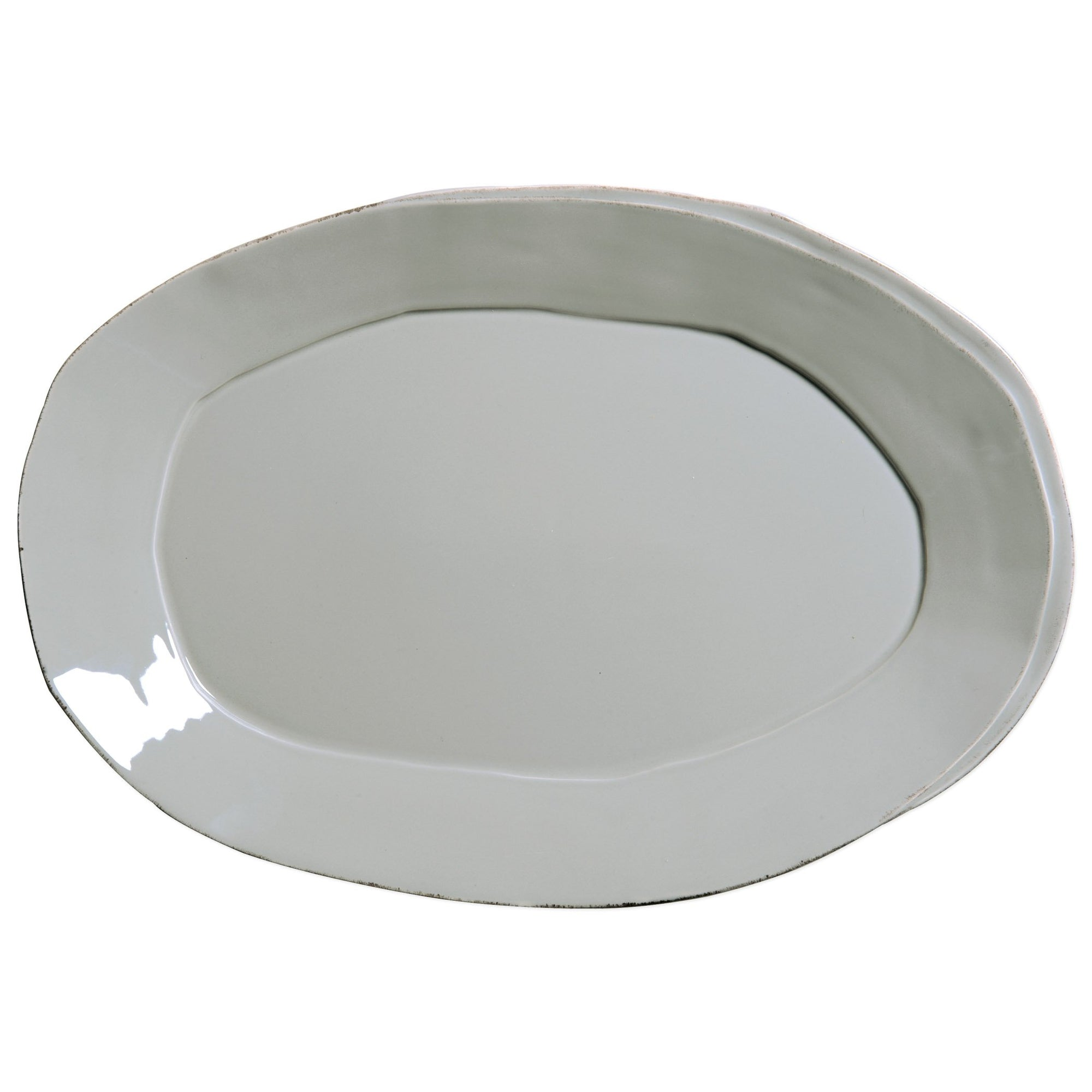 Lastra Gray Oval Platter by VIETRI