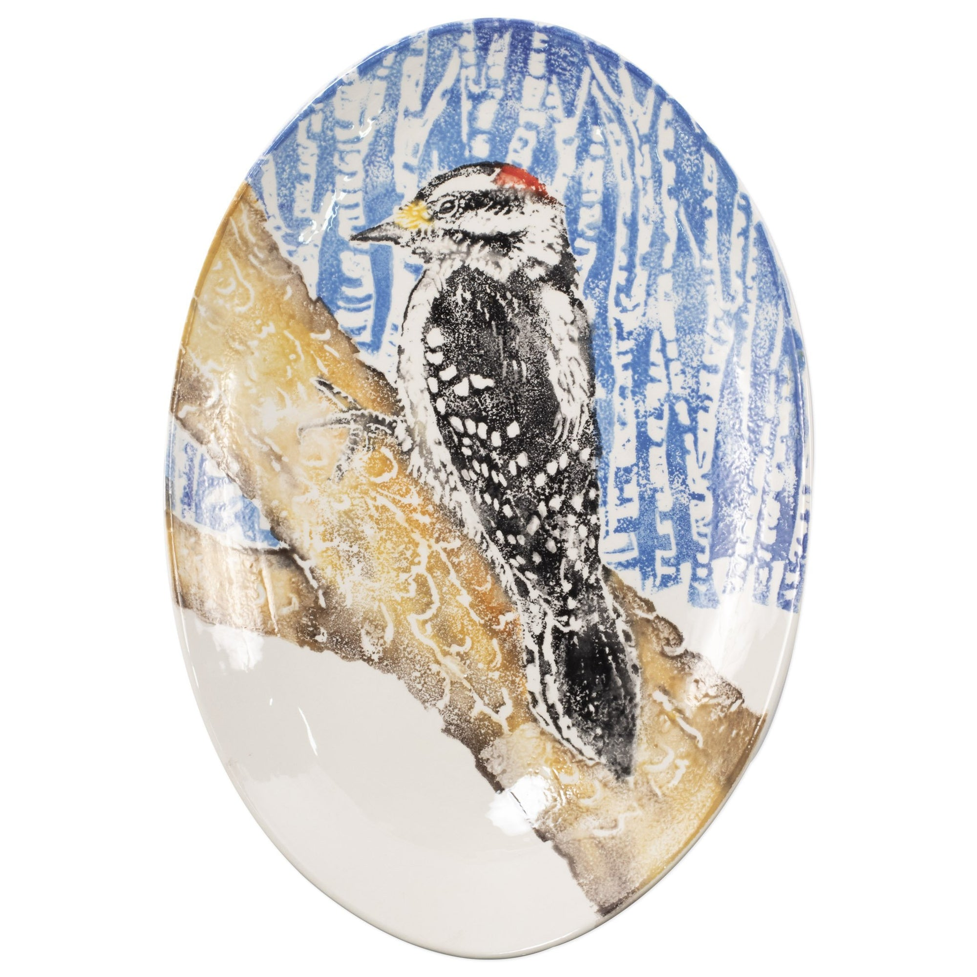 Into the Woods Woodpecker Shallow Oval Bowl