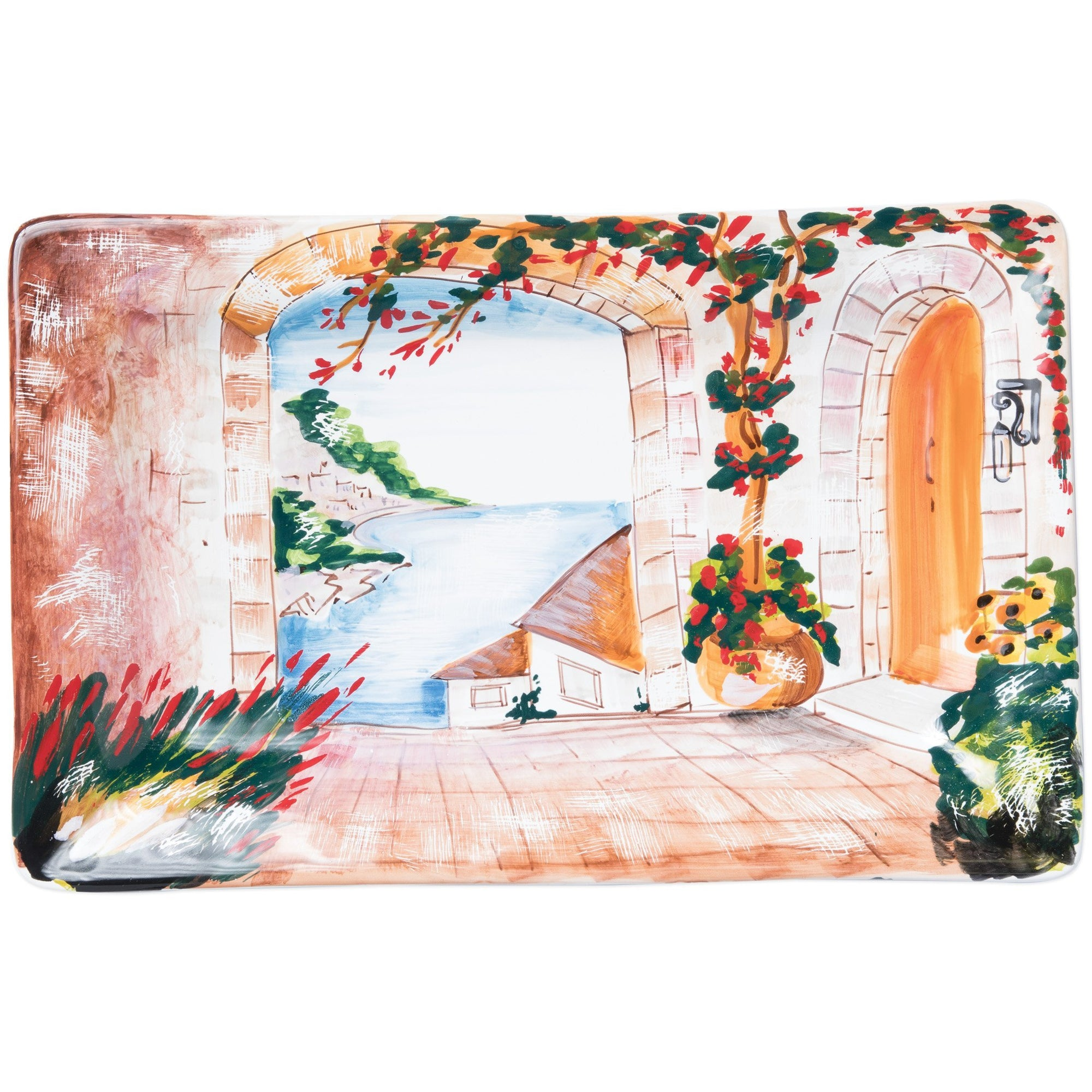 Landscape Wall Plates Inside Looking Out Rectangular Wall Plate by VIETRI