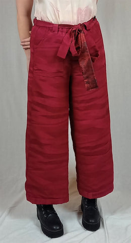 Red  silk utility look baggy trousers