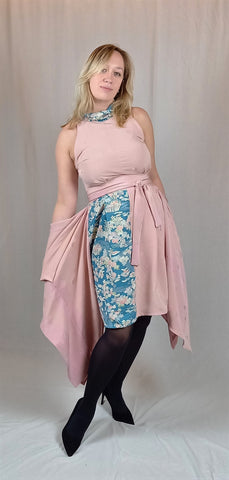 Pink and blue silk dress