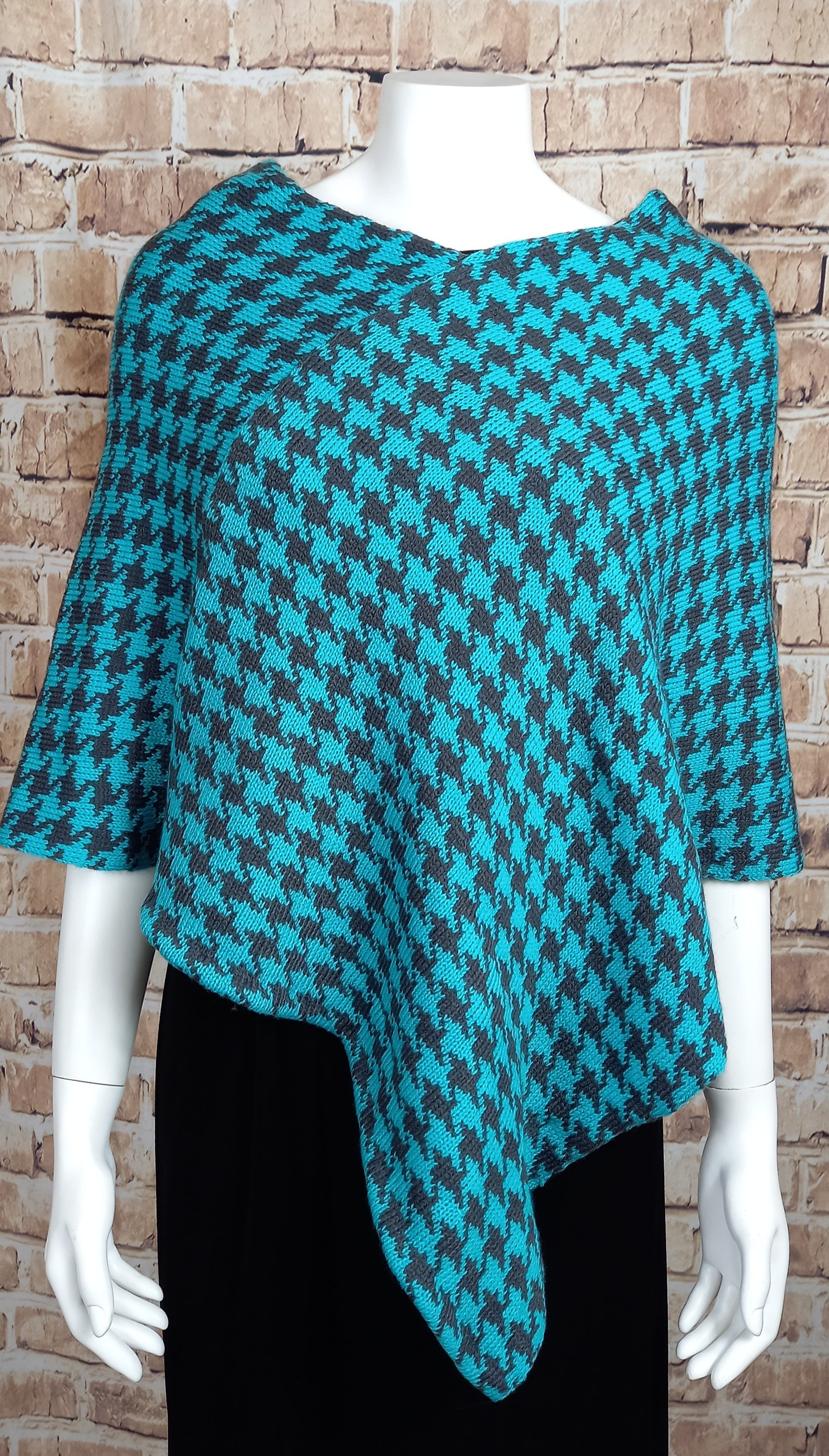Turquoise And Navy Blue Poncho