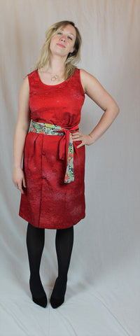 Red silk top and skirt set