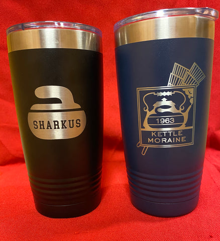 Custom engraved tumblers for curling
