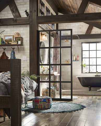 crittall french door style glass room divider in post and beam open concept bathroom