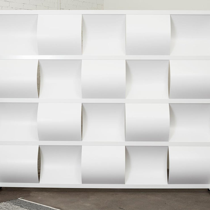 modern white room divider made of aluminum white frame and pvc inserts for space division and privacy
