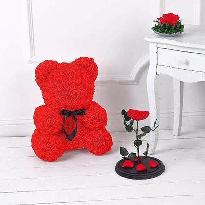 ours en rose rouge saint valentin