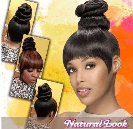 Bundle Hair Bun and Bangs Set