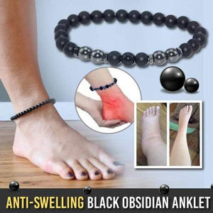 Anti-Swelling Black Obsidian Anklet