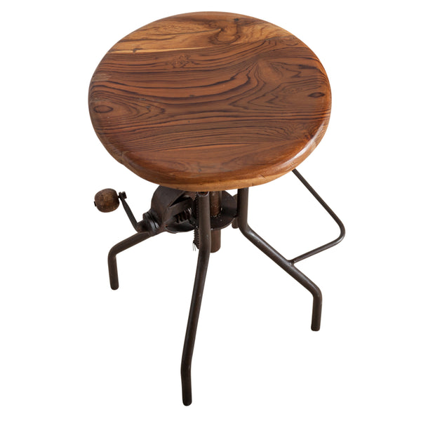 Clark Adjustable Hand Crank Bar Stool