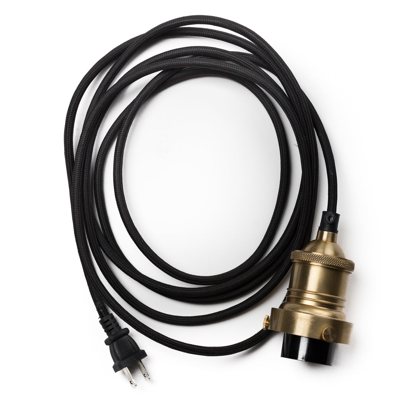 12ft Cord, Socket + Plug In Kit - Brass