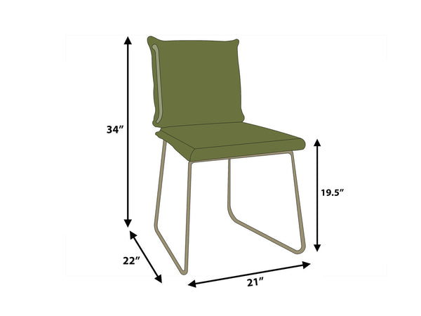 Carlson Leather Dining Chair - Green ( Set of 2 )