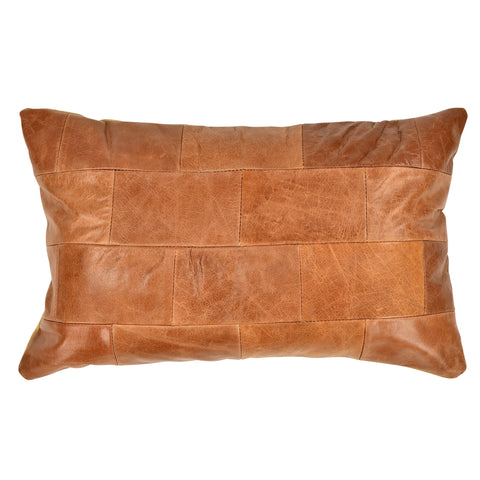Charolette Leather Cushion - Tobacco