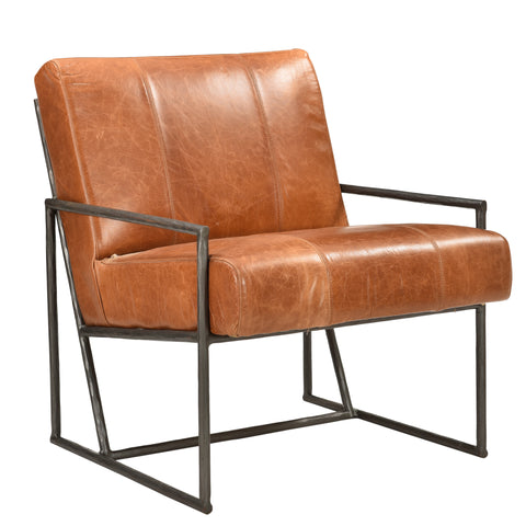 Iron + leather Chair - Tobacco Leather