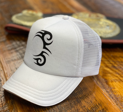 Load image into Gallery viewer, TATTOO TRUCKER WHITE WITH BLACK LOGO