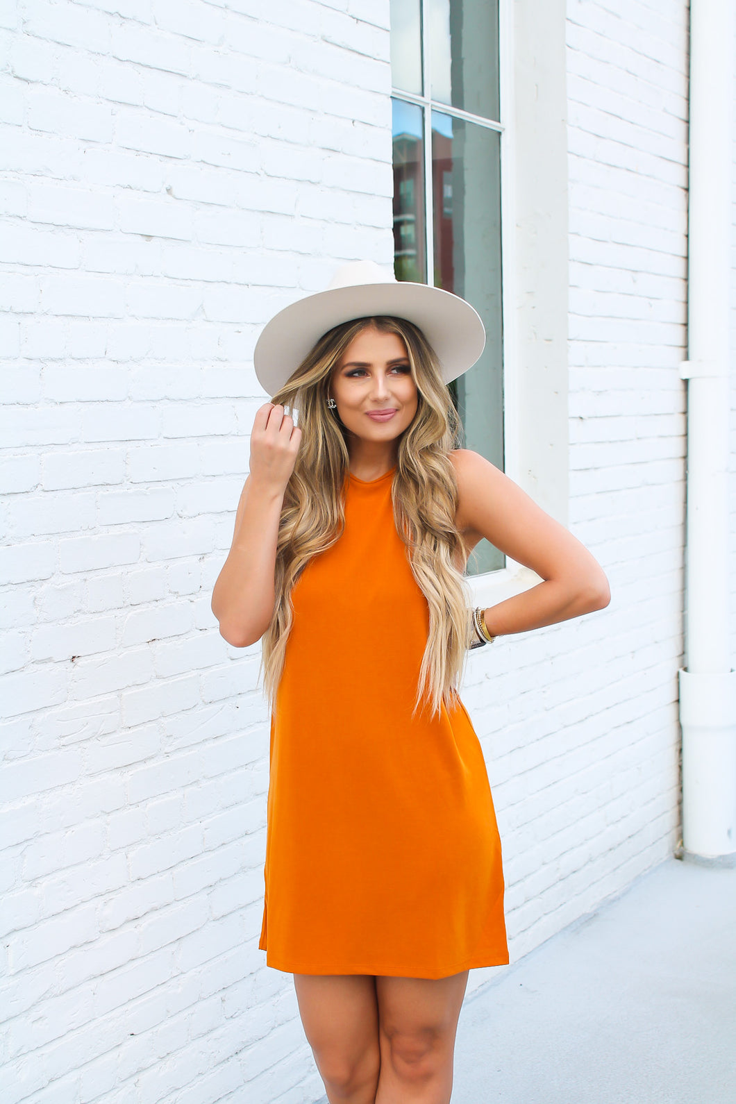 Flirting With Fall Burnt Orange Dress