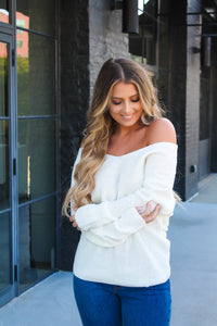 Cold Shoulder Twisted Back Sweater