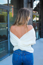 Load image into Gallery viewer, Cold Shoulder Twisted Back Sweater