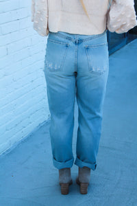 Bliss Distressed Mom Jeans