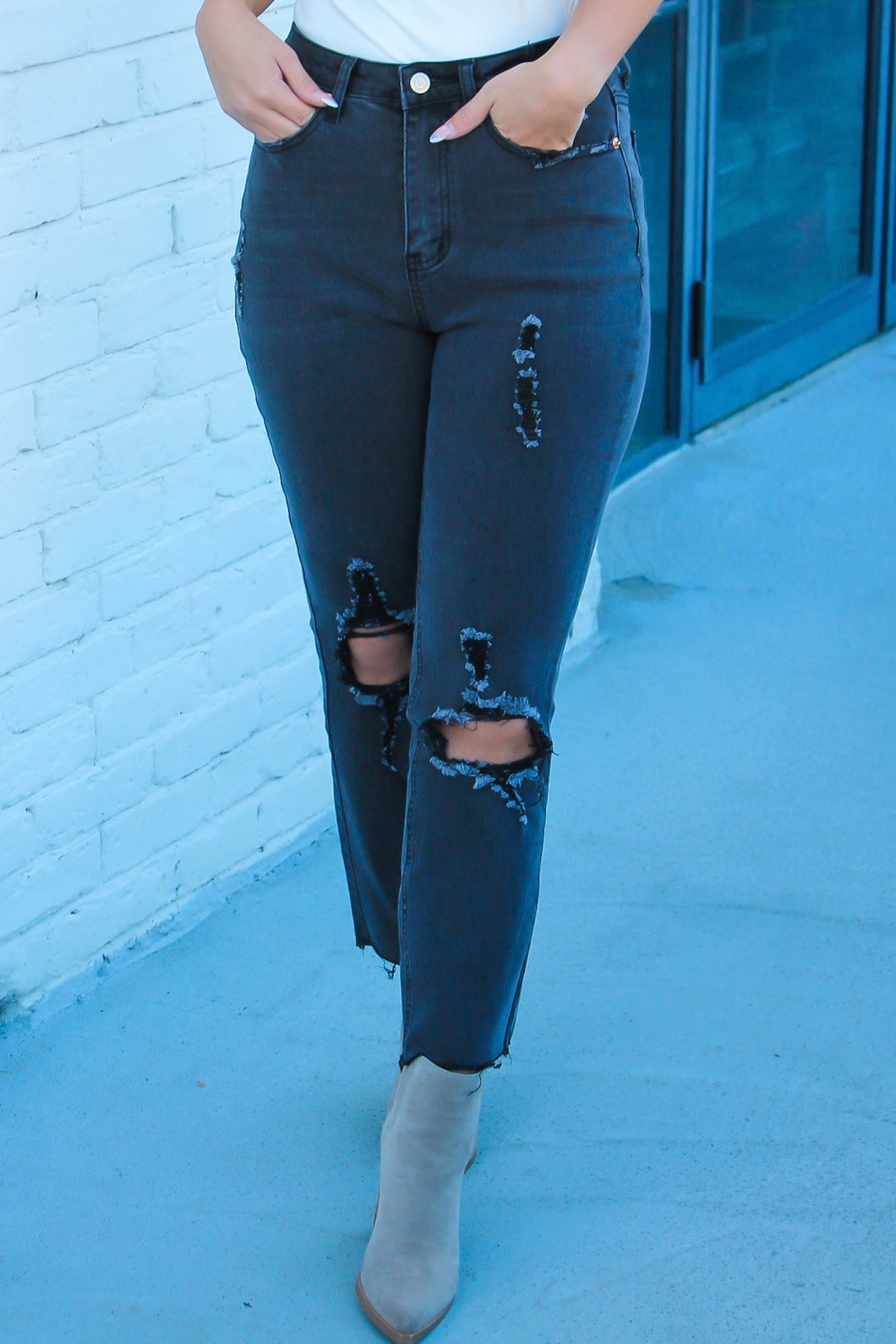 Black Distressed Ankle Jeans