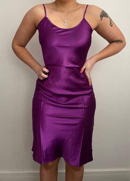 Satin Purple Midi Slip Dress