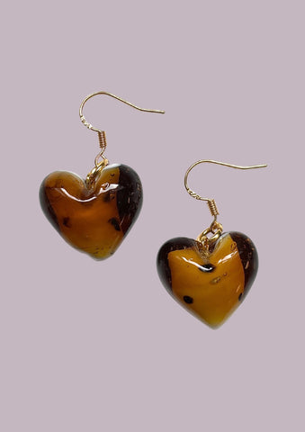 Leopard Glass Heart Earrings