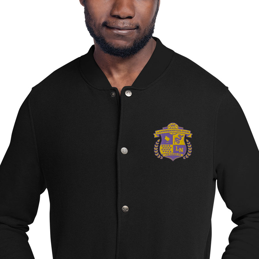 Lakersnation- Embroidered Champion Bomber Jacket