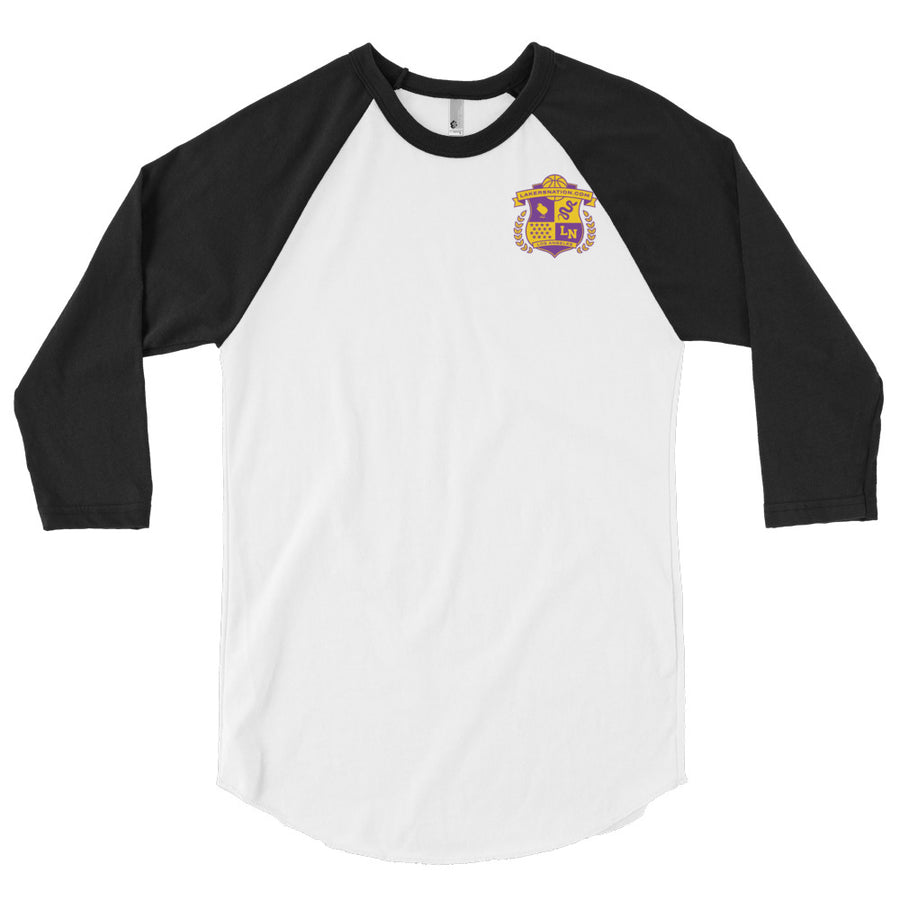Lakersnation- 3/4 sleeve raglan shirt