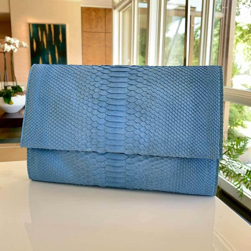 FEATURED: JONATHAN BLAKE DENIM BLUE PYTHON CLUTCH-Style Therapy