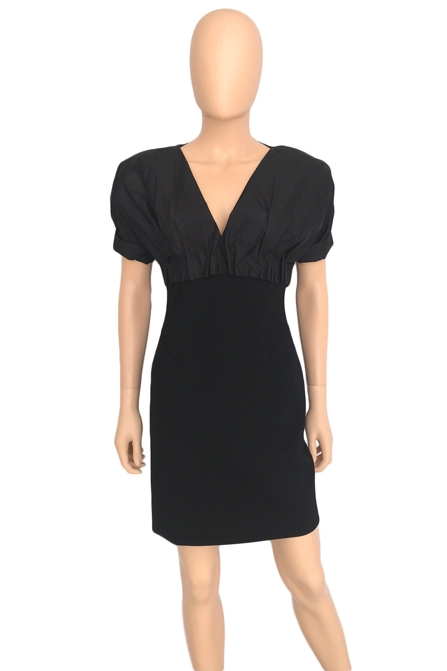 Brioni Black Short Sleeve Wool + Taffeta Cocktail Mini Dress / Sz 40-Style Therapy
