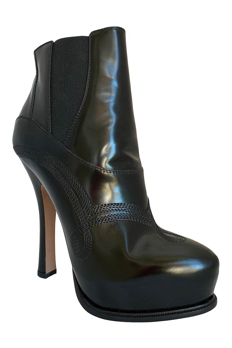 Prada Black Leather Platform Ankle Boots + Western Stitching / Sz 39
