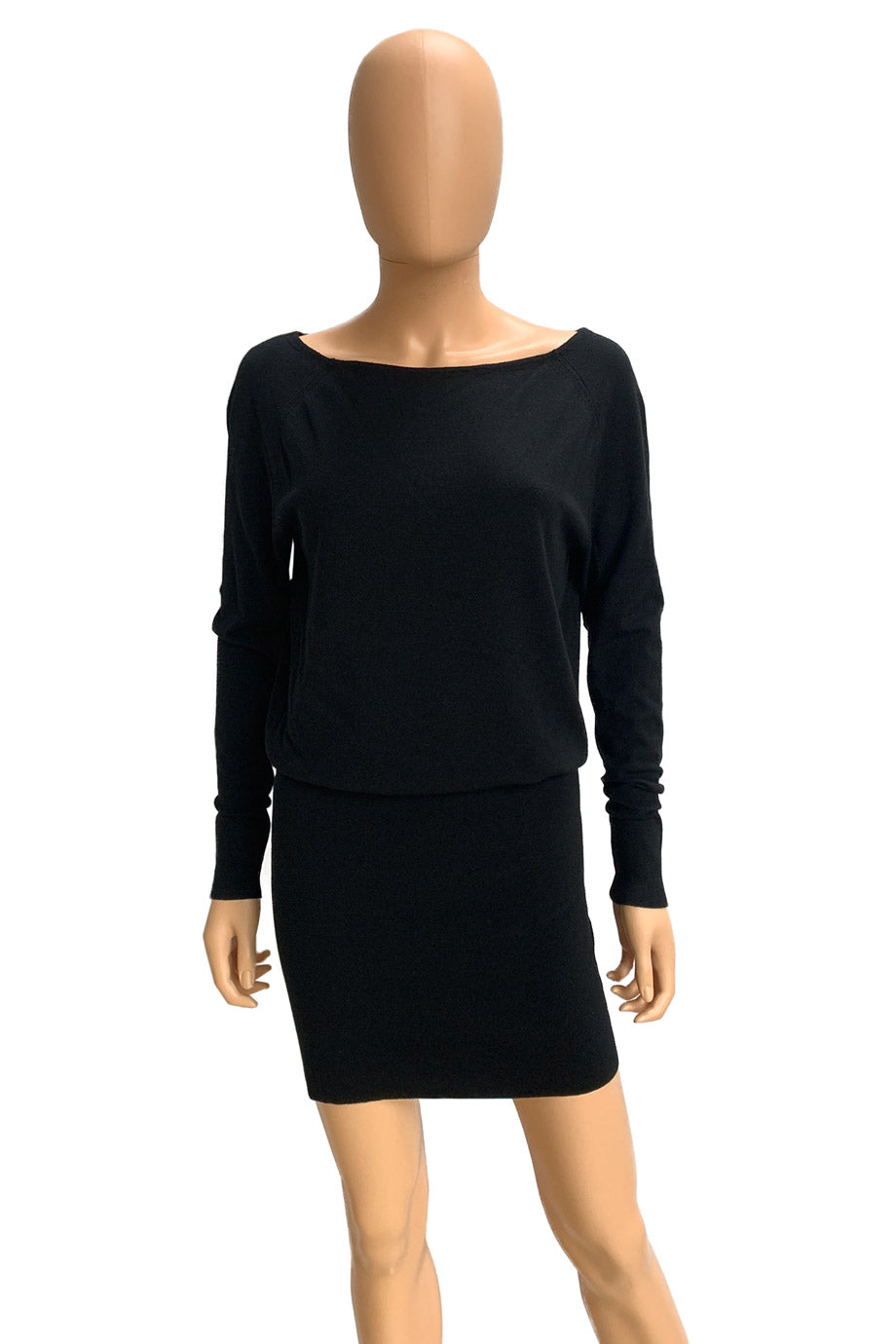 Donna Karan Black Stretch Viscose Knit Sweater Dress / Sz P-XS-Style Therapy