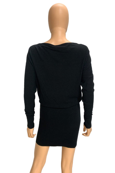 Donna Karan Black Stretch Viscose Knit Sweater Dress / Sz P-XS
