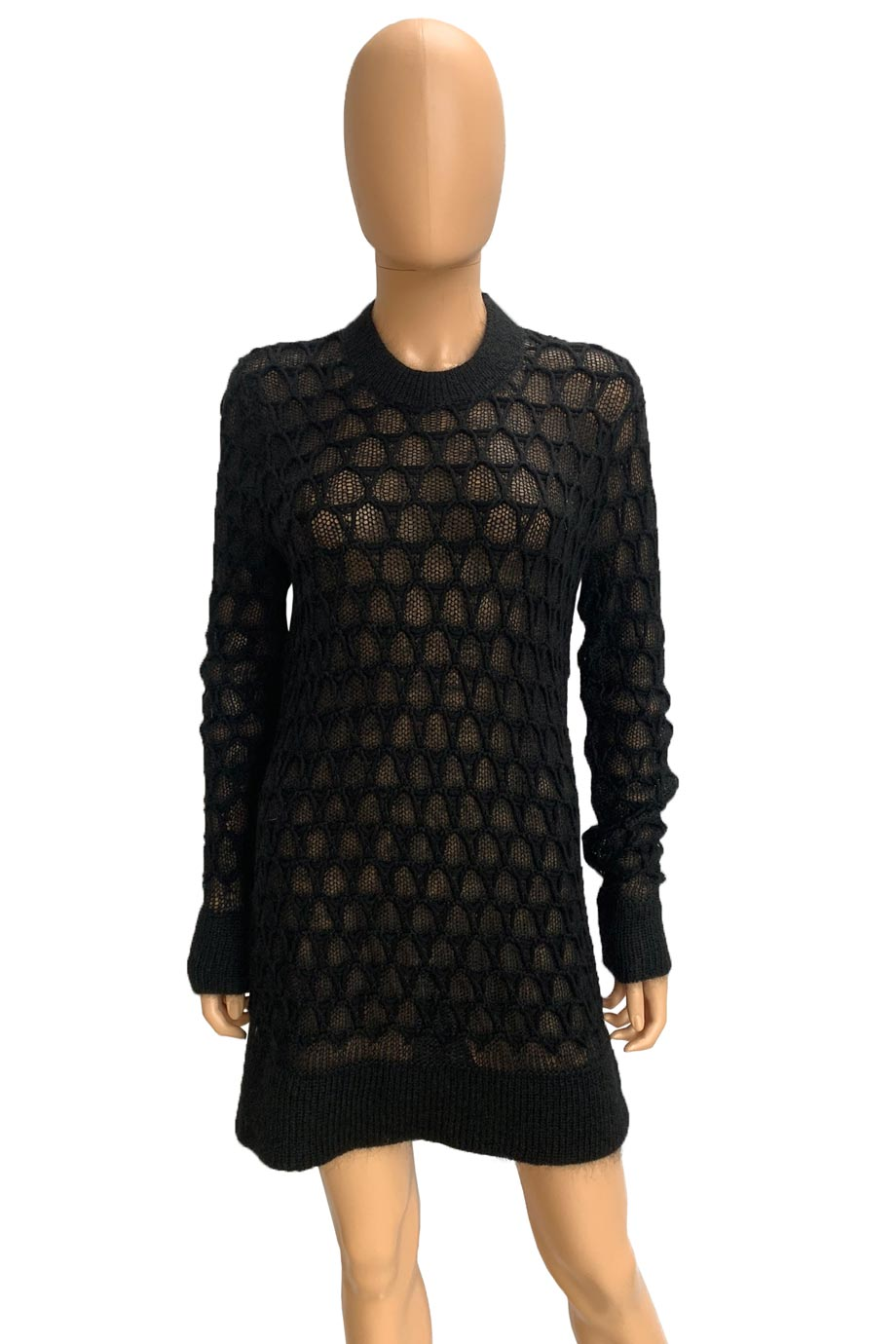 Helmut Lang Black Corded Lace Mohair Knit Pullover Sweater / Sz S-Style Therapy