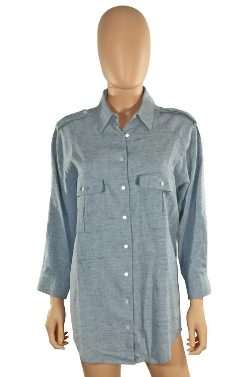 MiH Blue Brushed Cotton Tunic Length Casual Shirt / Sz M - Style Therapy  - 1