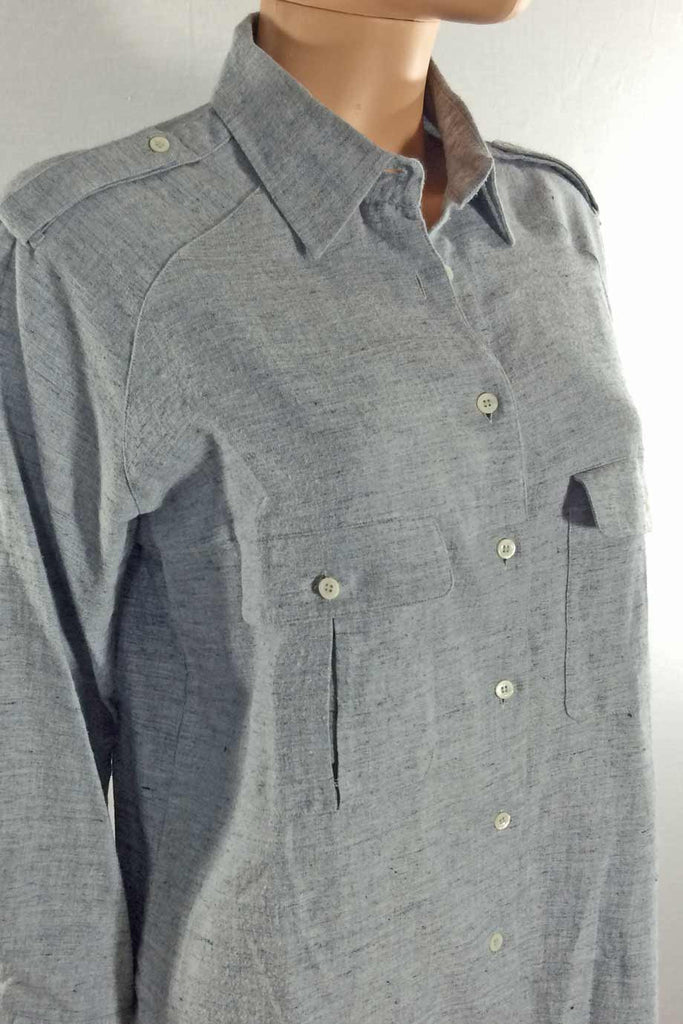MiH Blue Brushed Cotton Tunic Length Casual Shirt / Sz M - Style Therapy  - 2