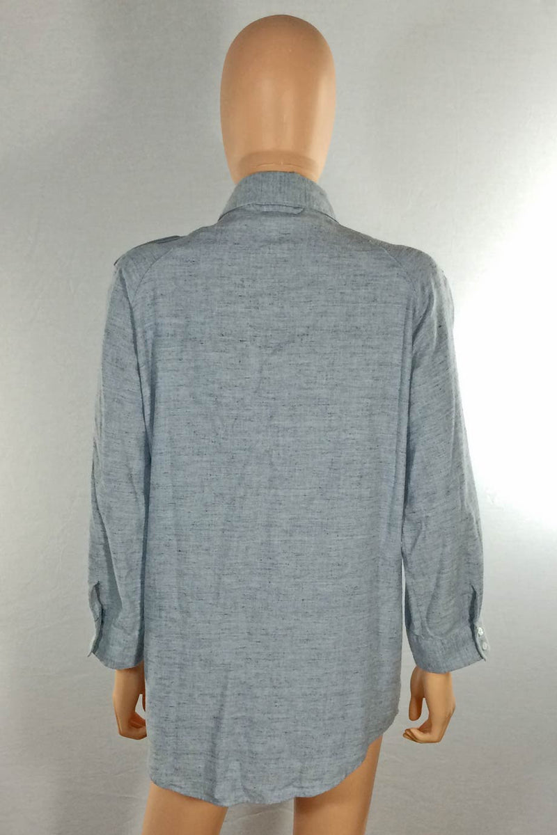 MiH Blue Brushed Cotton Tunic Length Casual Shirt / Sz M - Style Therapy  - 5