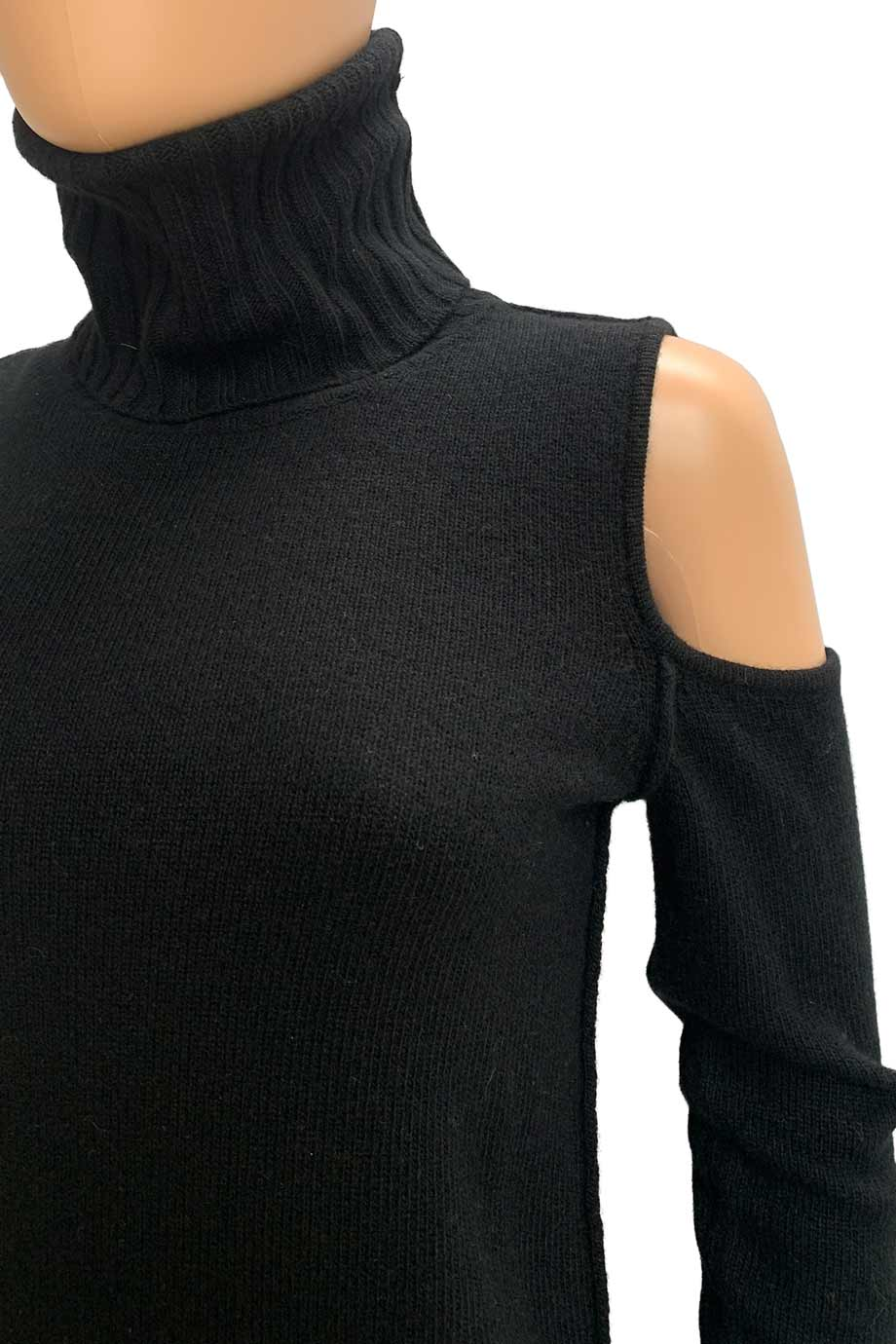 Pam & Gela Black Wool Blend Cold Shoulder Turtleneck Dress / Sz S-Style Therapy