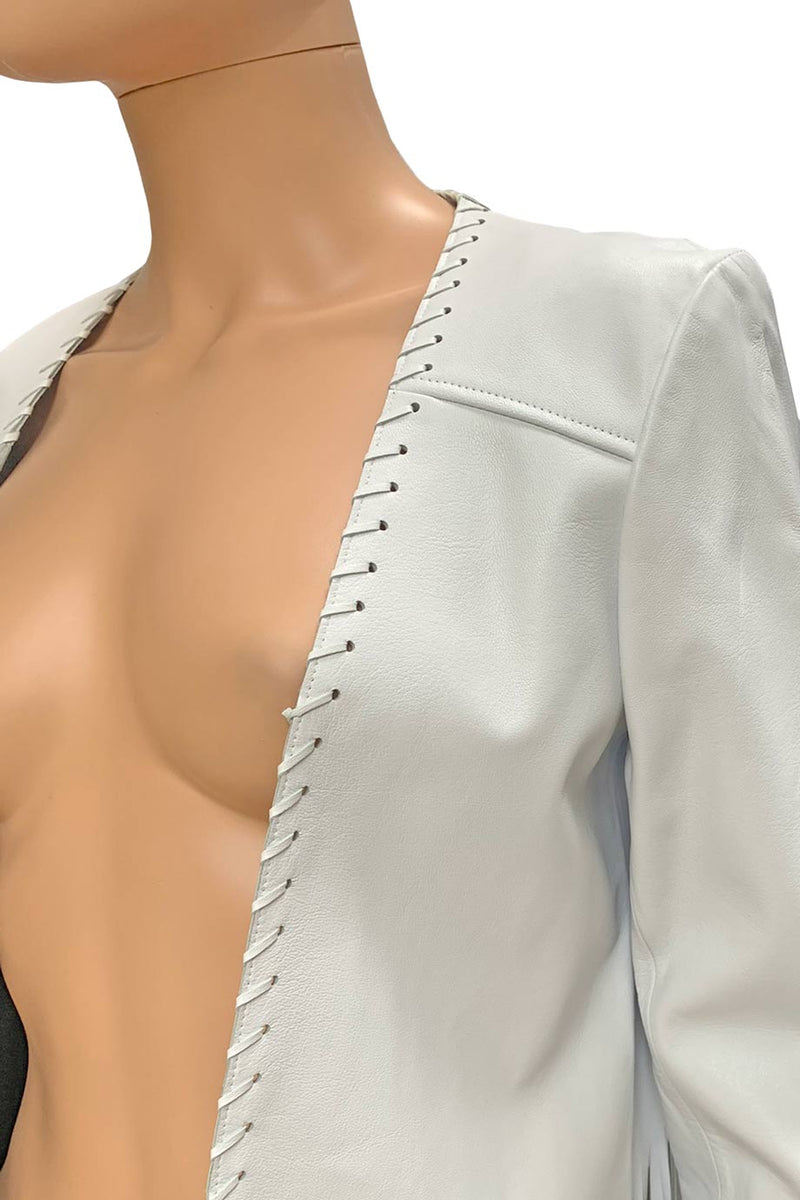 ThePerfext White Leather Christy Fringe Trim Open Front Jacket / Sz M-Style Therapy